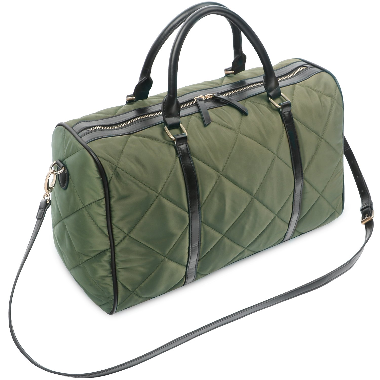 Oflamn 21 Large Duffle Bag Canvas Leather Weekender Overnight Travel Carry On Bag - Free Toiletries Bag OFLDU-1001GS