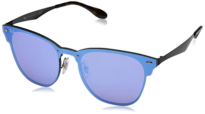 8174309153 Image Unavailable. Image not available for. Colour  Ray-Ban Sunglasses Blaze  Clubmaster 3576N 153 7V Black Dark Violet Blue Mirror