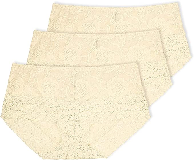 Eves temptation Lily Womens High Waist Lace Panties Underwear Seamless Slimming Full Coverage Brief