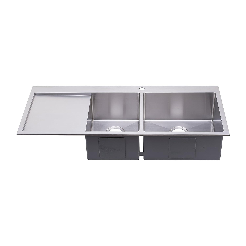 "BAI 1234 48"" Handmade Stainless Steel Kitchen Sink Double Bowl"