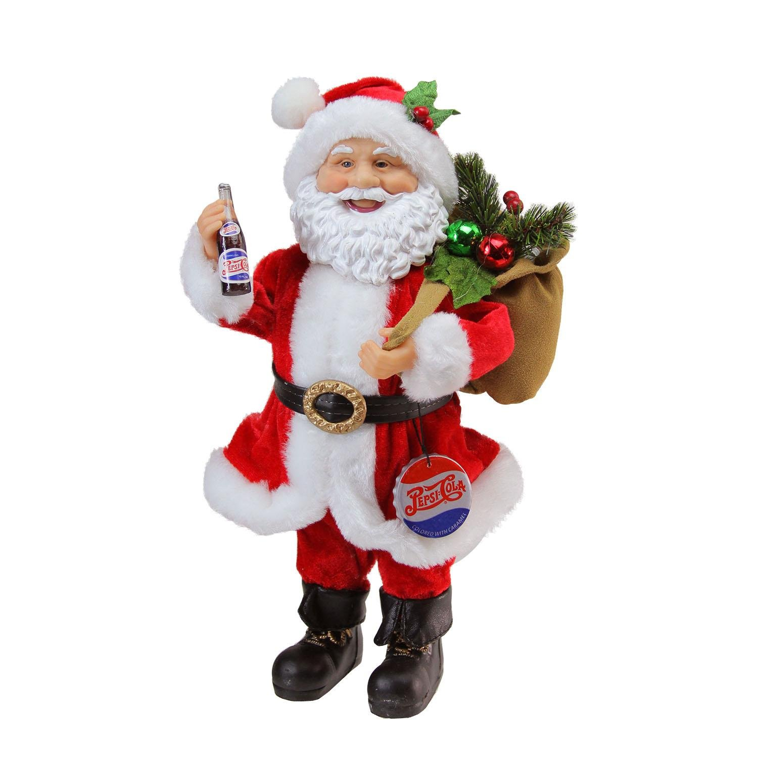 Northlight Santa Claus with Gift Sack Holding Pepsi Cola Bottle and Cap Christmas Figure, 12'', Red