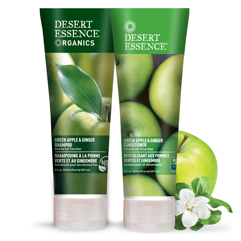 Desert Essence Green Apple & Ginger Shampoo & Conditioner Bundle - 8 Fl Ounce - Volume For Fine Hair - Natural - Deep Moisturizing - Antioxidants - Maca Root - Softer & Shinier - Smooth & Silky