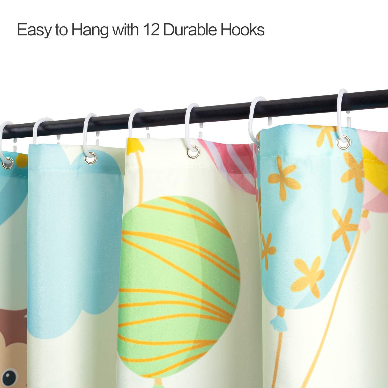 joyfeelife Fabric Shower Curtain Set Waterproof Bath Curtain for Bathroom Showers Bathtubs Home Decor with 12 Hooks, 71x71 Inch (Animal Balloon, 71x71 inch)