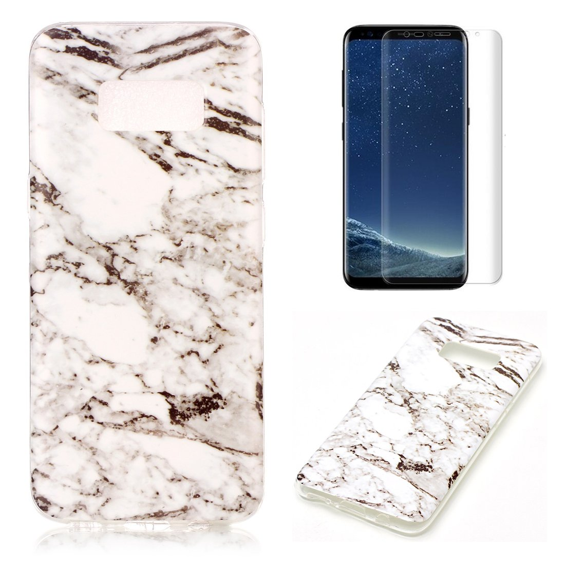 For Samsung Galaxy S8 Plus Marble Case Blue and Gray,OYIME Unique Luxury Glitter Colorful Plating Pattern Skin Design Clear Silicone Rubber Slim Fit Ultra Thin Protective Back Cover Glossy Soft Gel TPU Shell Shockproof Drop Protection Protective Transparen