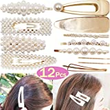 DeD 12Pcs Pearl Hair Clip For Women Pearl Wrapped Bobby Pin Hairpins Barrettes, Wedding Bridal Ornaments For Ladies Girls(Gold)