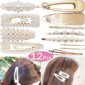 296e7d89109d9 Amazon.com : DeD 12Pcs Pearl Hair Clip For Women Pearl Wrapped Bobby Pin  Hairpins Barrettes, Wedding Bridal Ornaments For Ladies Girls(Gold) : Beauty