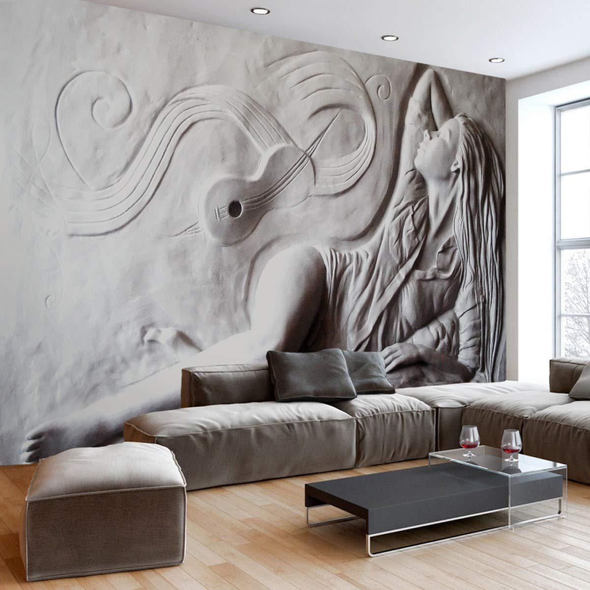 Amazon Com Murwall Sculpture Wallpaper 3d Embossed Look Artist Wall Mural Cement Woman Wall Print Classic Home Decor Cafe Design Living Room Entryway Bedroom Childroom Handmade