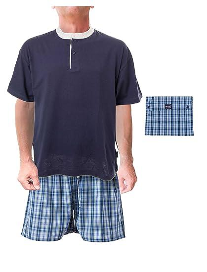 AdoniaMode Herren Shorty Jersey Pyjama Schlafanzug Nachtwäsche Sleepware  T-Shirt und Hose Kurz-Arm Rundhals Knopfleiste Trockner-geeignet 8538, ... de0b6862cc