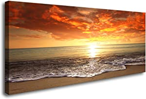 Baisuart-S0262 Canvas Prints Wall Art Sunset Ocean Beach Pictures Photo Paintings for Living Room Bedroom Home Decorations Modern Stretched and Framed Seascape Waves Landscape Giclee Artwork