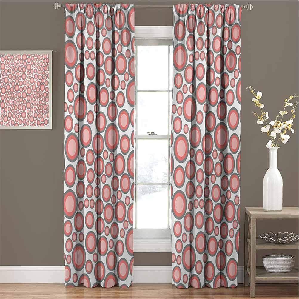 Toopeek Cortina de aislamiento térmico oscurecida rosa pálido con círculos de diferentes tamaños y colores sobre un fondo blanco cortinas para sala de estar, 84 x 84 pulgadas, color gris coral