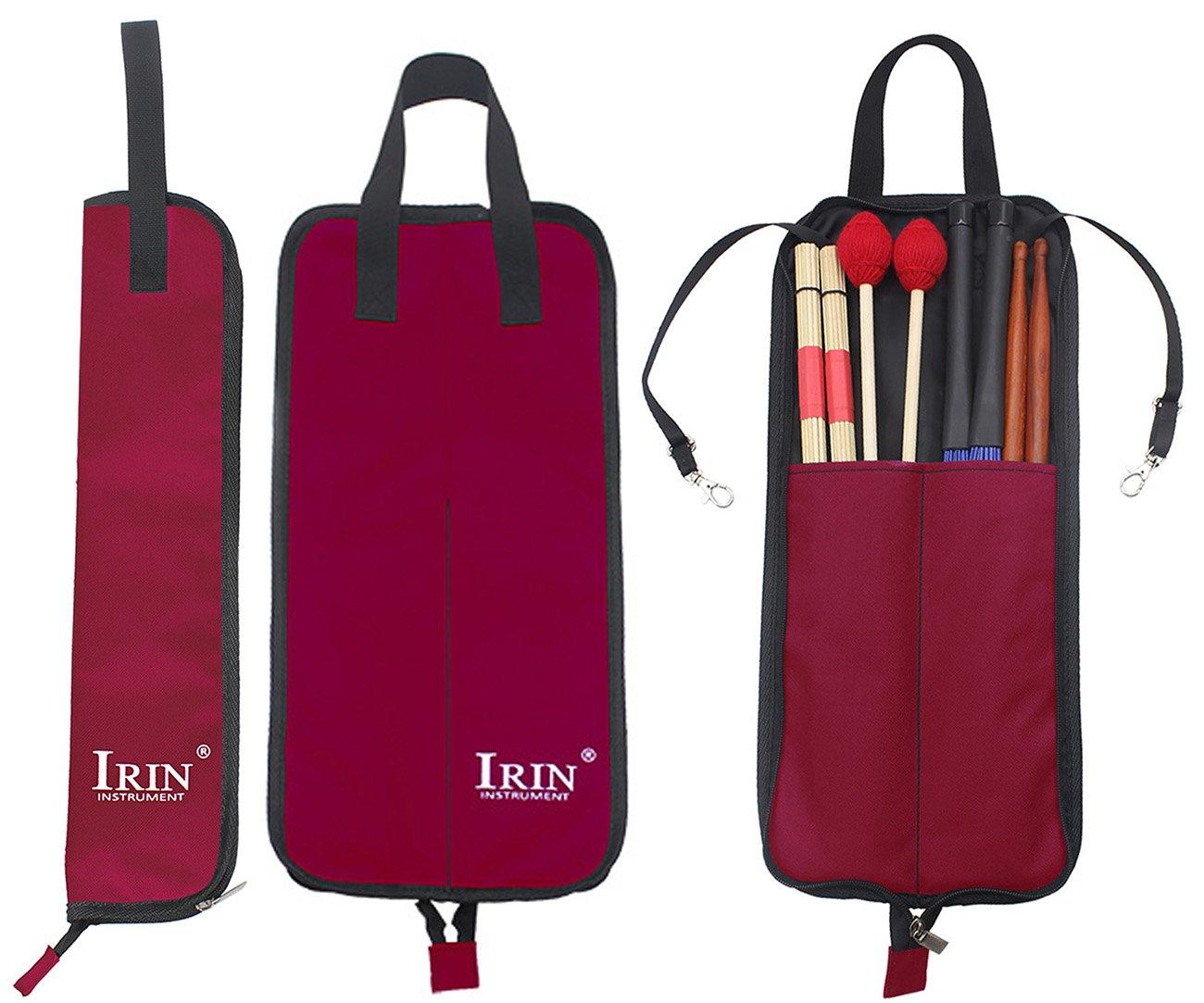 Drumstick Bag Case, Buytra Drum Stick Holder Percussion Drum Mallet Bag with Floor Tom Hooks, Red