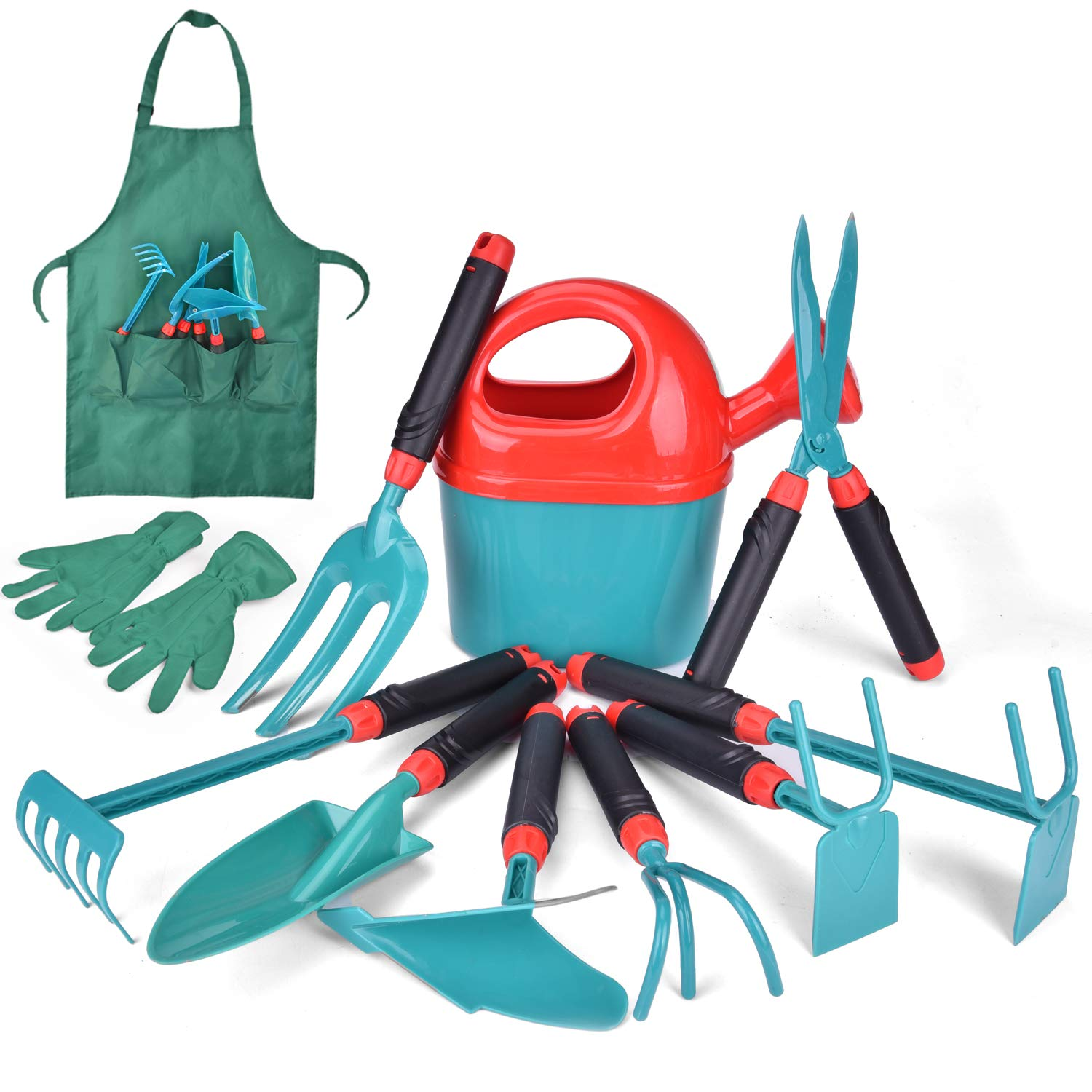 Fun Little Toy 12 PCs Kids Gardening Tool Set, Outdoor Toys for Kids Includes Shovel, Fork, Rake, Gloves and Apron 71ttH3uAKIL