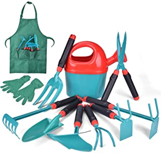 FUN LITTLE TOYS 12 PCs Kids Gardening Tool Set, Outdoor Toys for Kids Includes Shovel, Fork, Rake, Gloves and Apron
