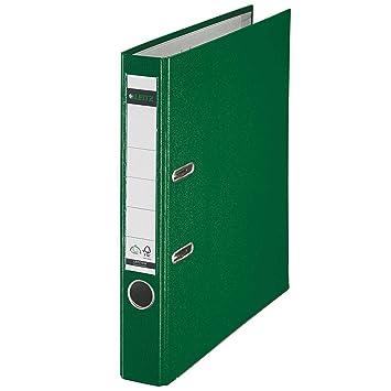 Leitz 10155055 - Archivador plástico 180º con anillas A4 color verde: Amazon.es: Oficina y papelería