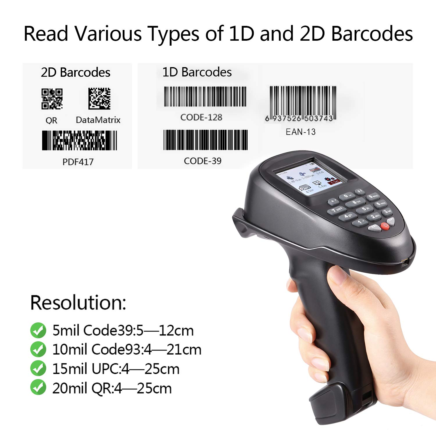 TroheStar Barcode Scanner 1D/2D/QR/PDF417 Wireless and Collector Portable Data Terminal Inventory Device Bar Code Reader PDT with TFT Color LCD Screen & USB Cradle Receiver Charging Base by trohestar (Image #4)