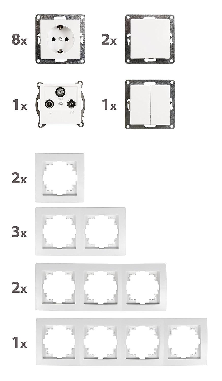 3-teilig wei/ß und Steckdosen-Set FLAIRT/ür 2-fach Schalter