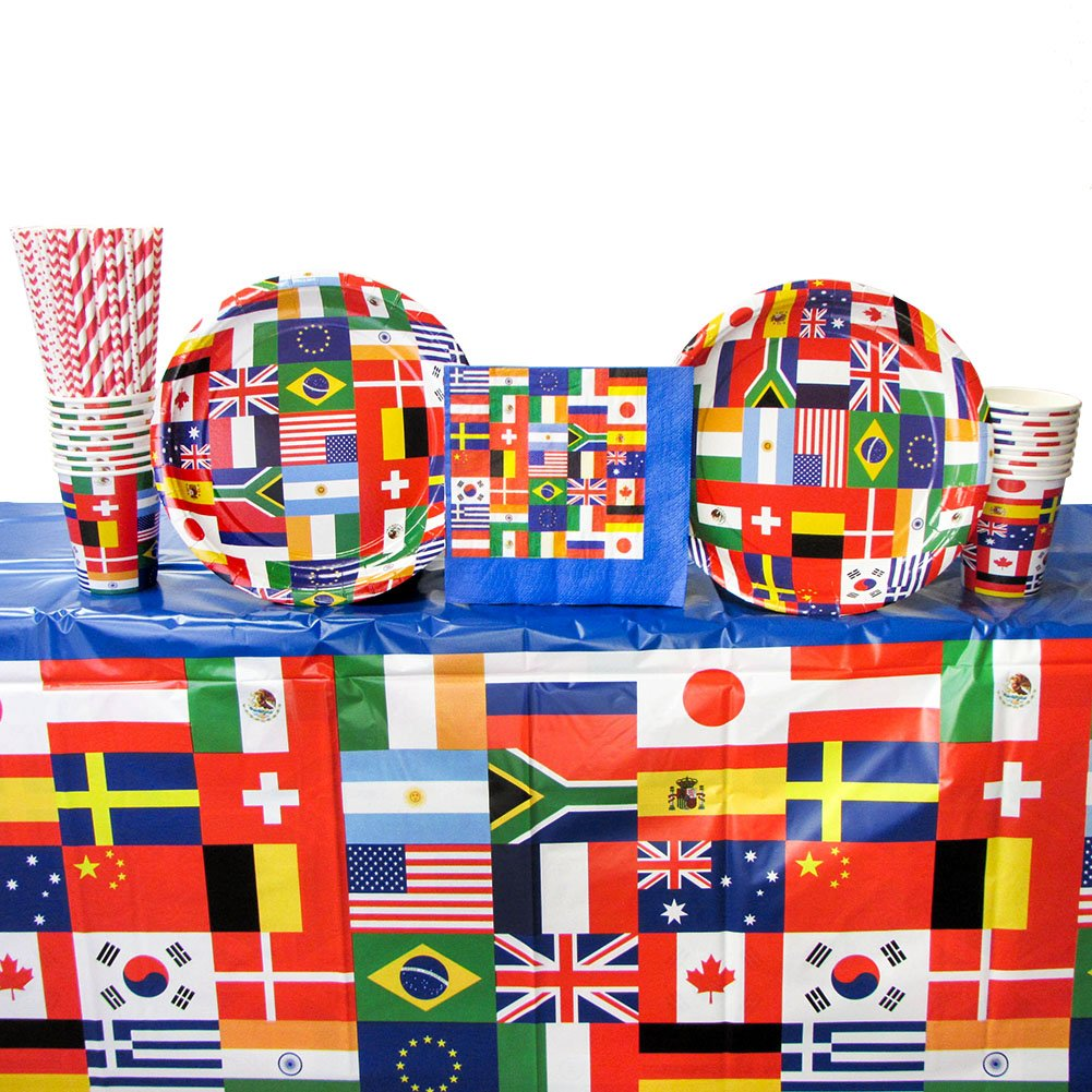 International Flags Party Supplies Pack for 16 Guests: Straws, Dessert Plates, Beverage Napkins, Cups, and Table Cover (Bundle for 16) by Cedar Crate Market