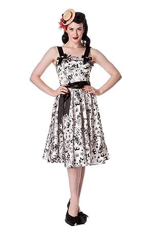 bb4fffc3b22 Hell Bunny Vintage Tattoo Art Rockabilly White Satin Velvet Tattoo Art  Flocked Party Dress (XS