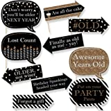 Funny Adult Happy Birthday - Gold - Birthday Party Photo Booth Props Kit - 10 Piece