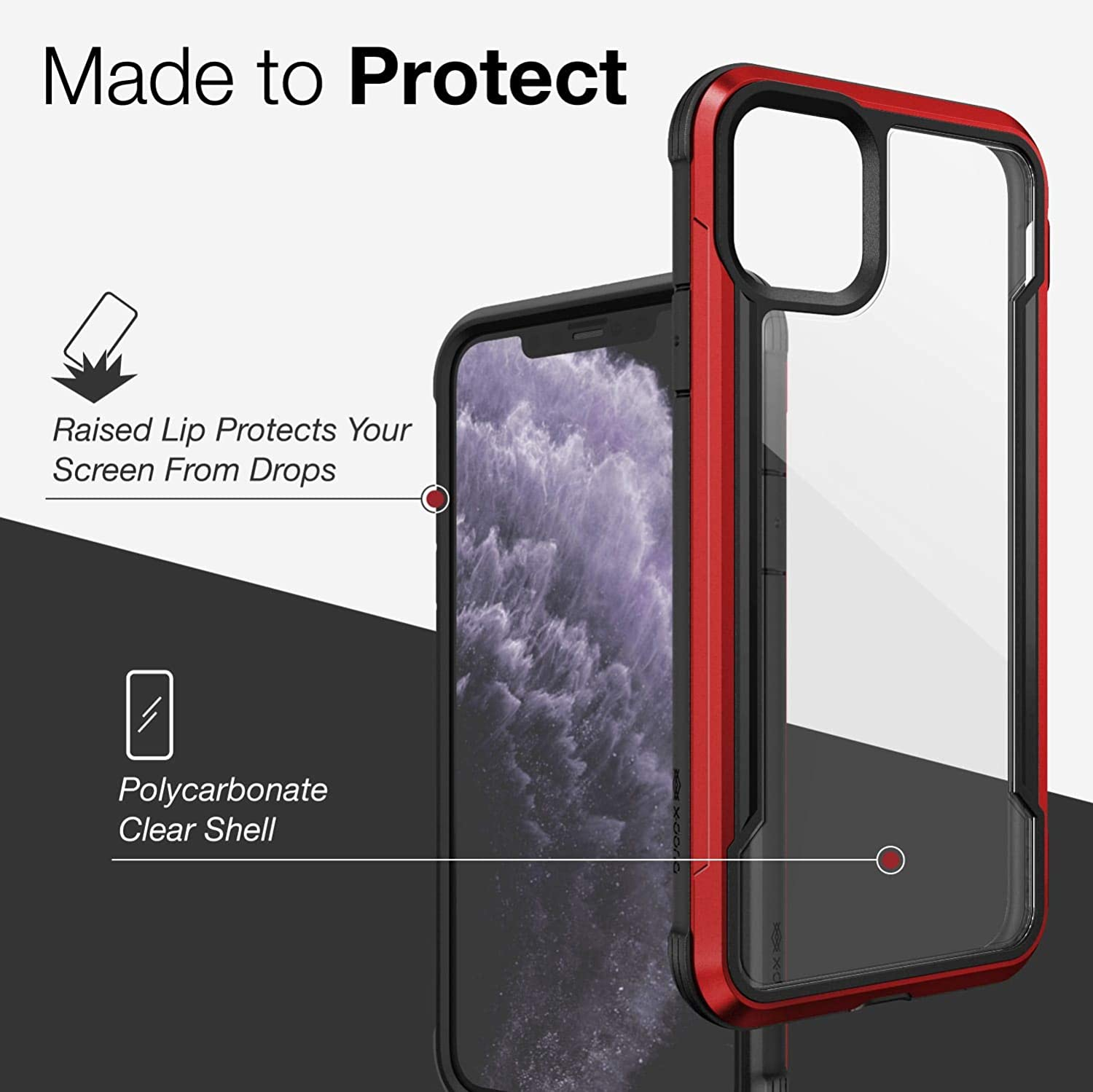 Anodized Aluminum iPhone 11 Pro Max Case and Polycarbonate Protective Case for Apple iPhone 11 Pro Max, Red TPU Defense Shield Series Military Grade Drop Tested