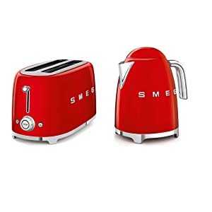 SMEG 4-Slice Toaster & 1.7-Liter Kettle Red