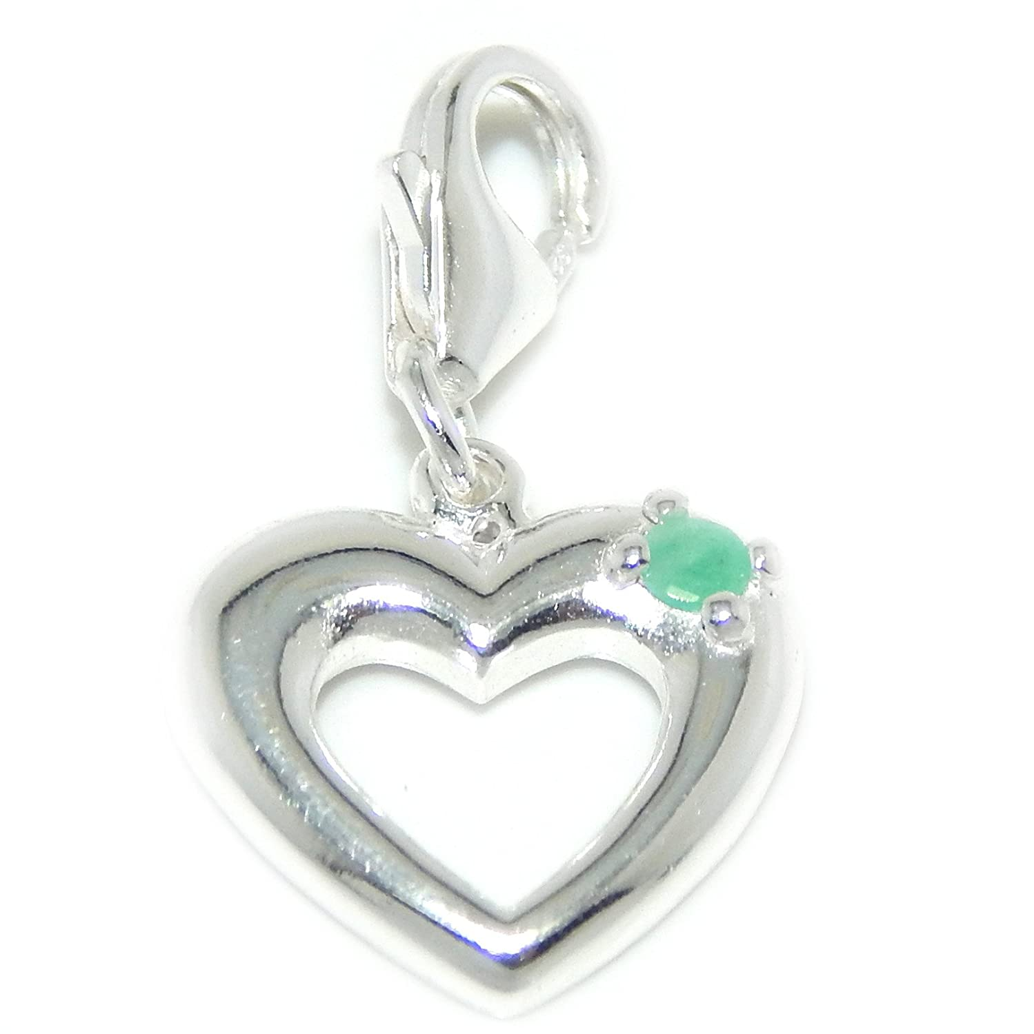 925 Sterling Silver Dangling Open Heart with Small Crystal Clip-on Charm Bead