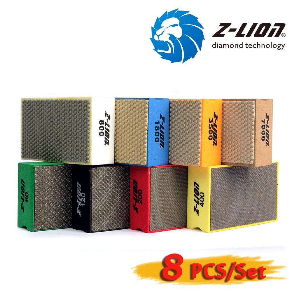 Z-Lion Diamond Hand Polishing Pads Foam Back for Granite Marble Glass,Set of 8 Pcs by Z-LION