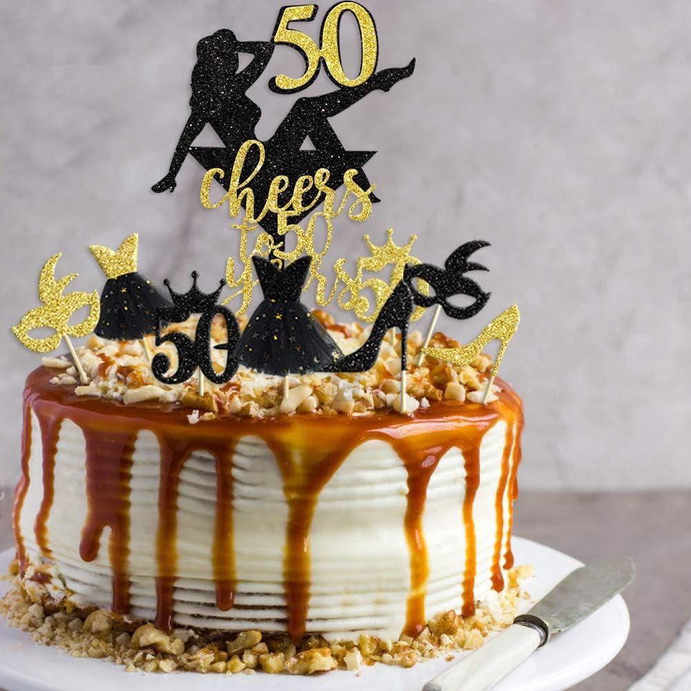 33 piezas negro purpurina oro Cheers to 50 a/ños Topper para tarta 50th Birthday Cake Decorations Cupcake Topper Kit para mujer 50/° aniversario celebraci/ón de la boda decoraci/ón para fiestas ideas