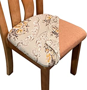 Melanovo Stretch Printed Dining Room Chair Seat Covers, Removable Washable Spandex Anti-Dust Upholstered Chair Seat Cushion Slipcovers (Set of 4)