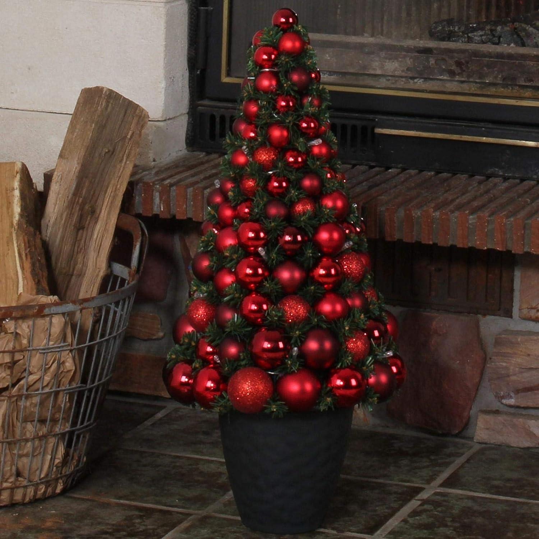 Möbelcreative LED Weihnachtsbaum, beleuchteter Tannenbaum in rot ...