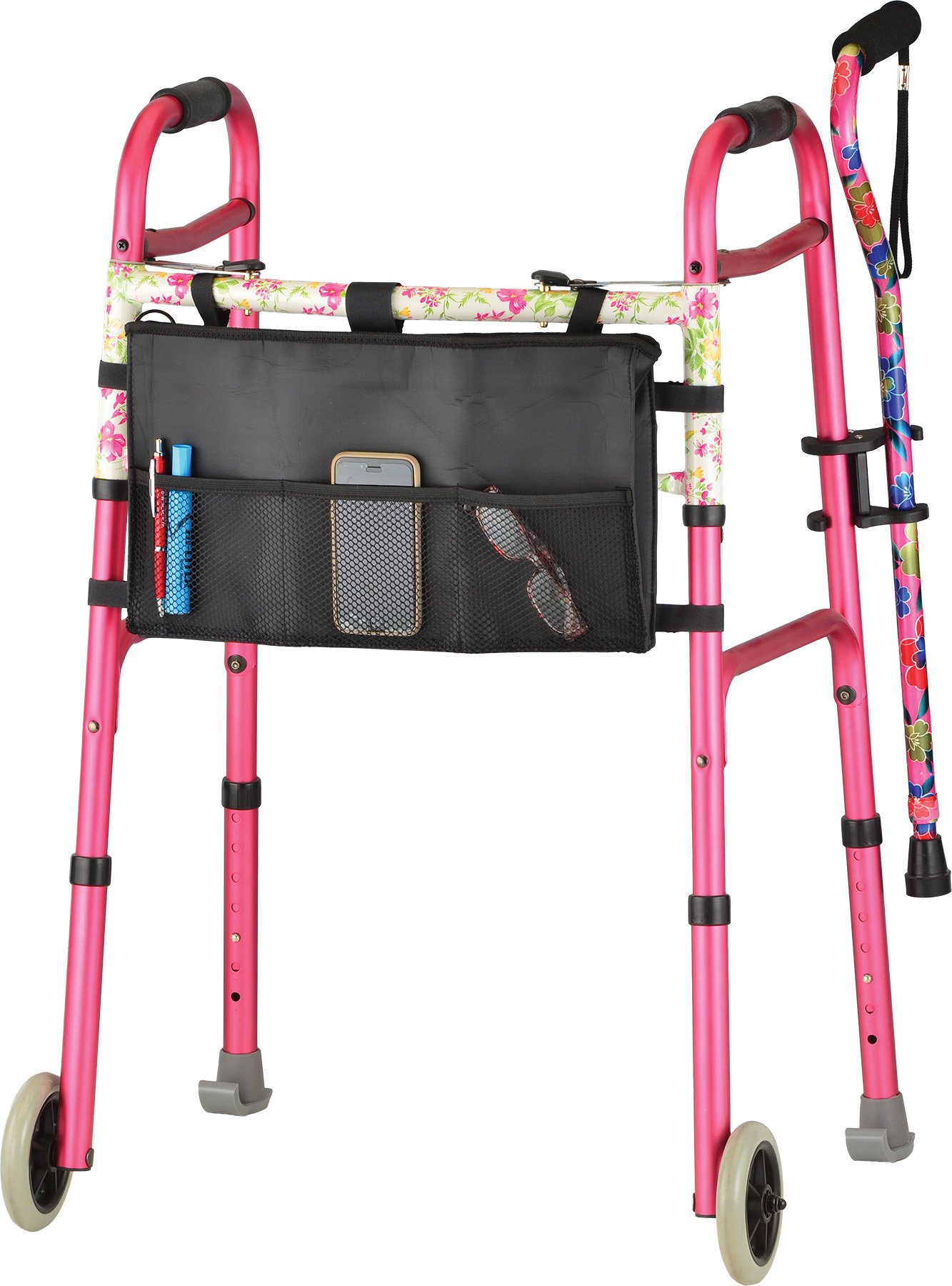 NOVA Designer Folding Walker with Cane and Accessories, Pink