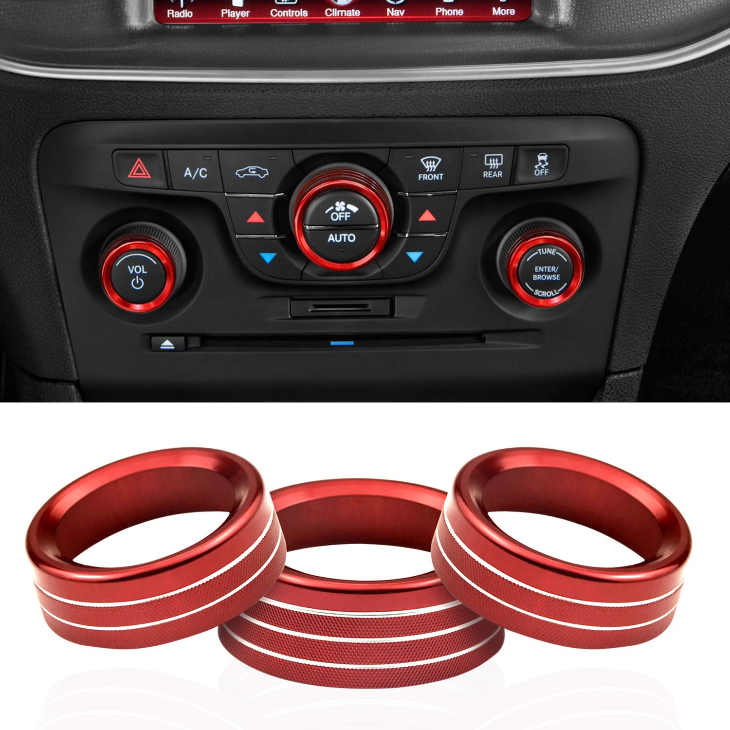 Air Conditioning Radio Volume Button Knob Cover for Dodge Challenger Charger 2015-2019 Aluminum Alloy Trim Cover,Red