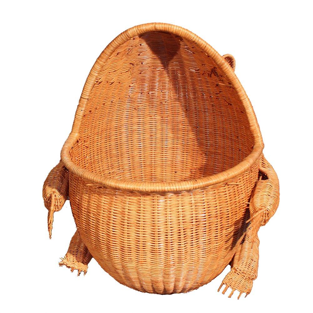 L&QQ 動物カエルラタンホームハンパー バスルーム汚れた衣類バスケット 手作り収納ボックス/オーガナイザービン B07QNJBGQV