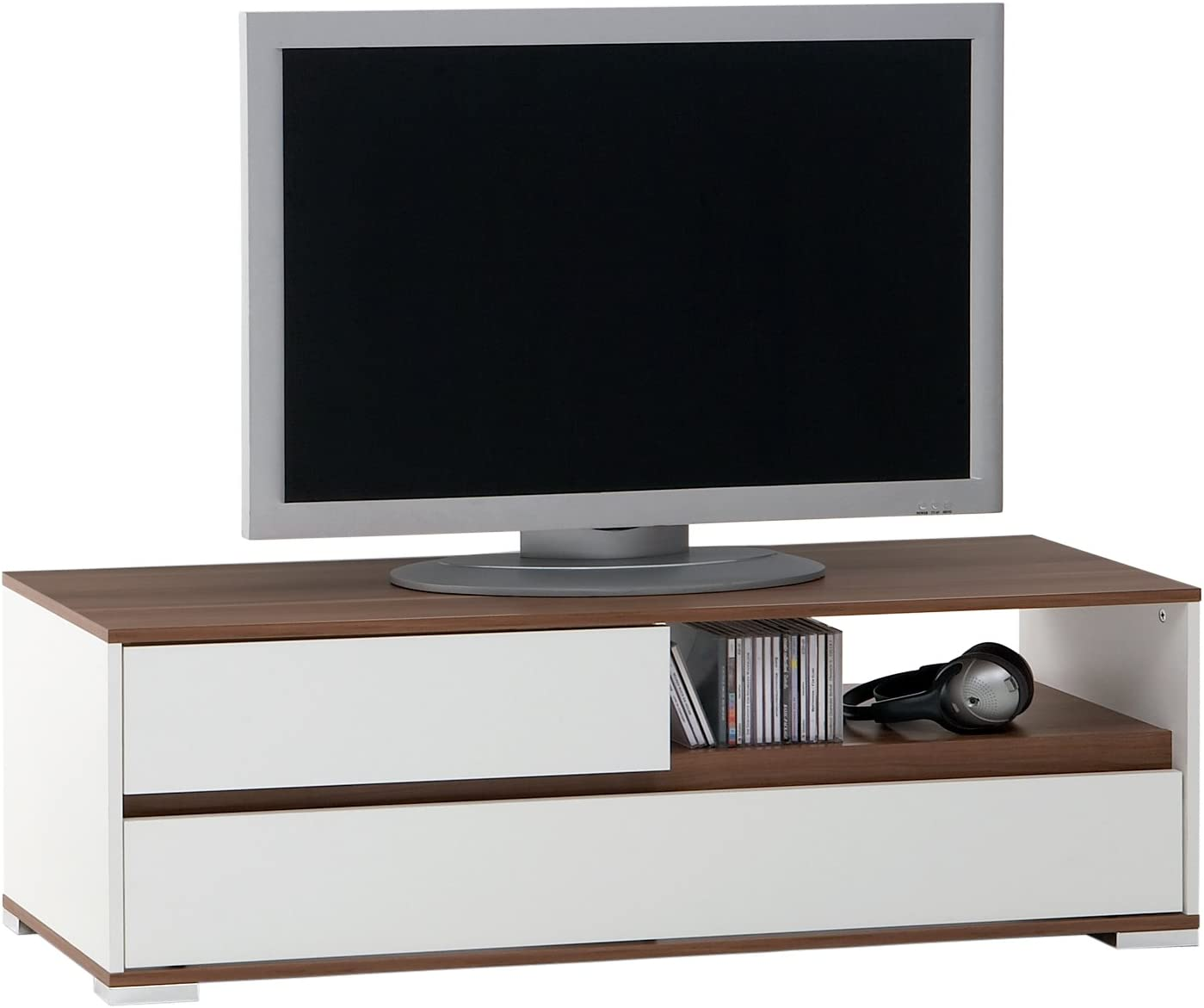 FMD Möbel 253-001 - Mueble para televisor o Sistema de Audio y vídeo, 125 x 40,5 x 39 cm, Color Blanco y Ciruelo: Amazon.es: Hogar