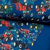 Softshell Stoff Digitaldruck Trecker Royalblau Kinderstoff Traktor -Preis Gilt für 0,5 Meter