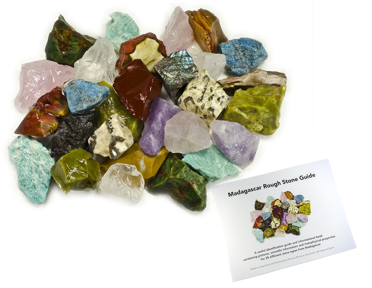 Hypnotic Gems: 3 lbs Hand Bagged 17 Stone Type Madagascar Mix with 30 Page Stone Identification Guide - Natural Raw Rocks for Cabbing, Cutting, Lapidary, Tumbling, Polishing & Reiki Crystal Healing