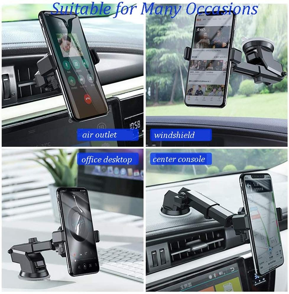 Car Phone Mount Holder Samsung Auto-Retractable Hands Free Gravity Cell Phone Holder for Car Android Smartphones Universal Car Phone Holder Cradle for iPhone Strong Sticky Gel Suction Cup