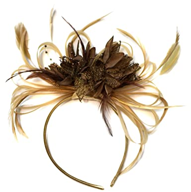 Champagne Gold Beige Camel and Coffee Brown Fascinator on Headband ... 2a6c5cd600e