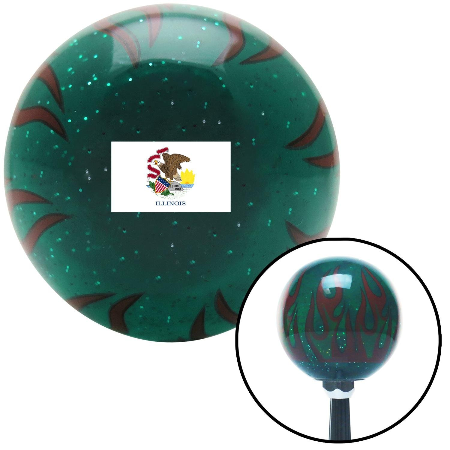 American Shifter 310992 Shift Knob Illinois Green Flame Metal Flake with M16 x 1.5 Insert