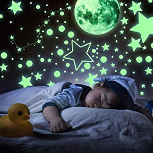 Glow in The Dark Stars Decals Decor,1696 PCS Including Glow Moon Wall Decals, Glow Dark Stars and Peel Stick for Art Wall Decor Best for Kids Bedroom