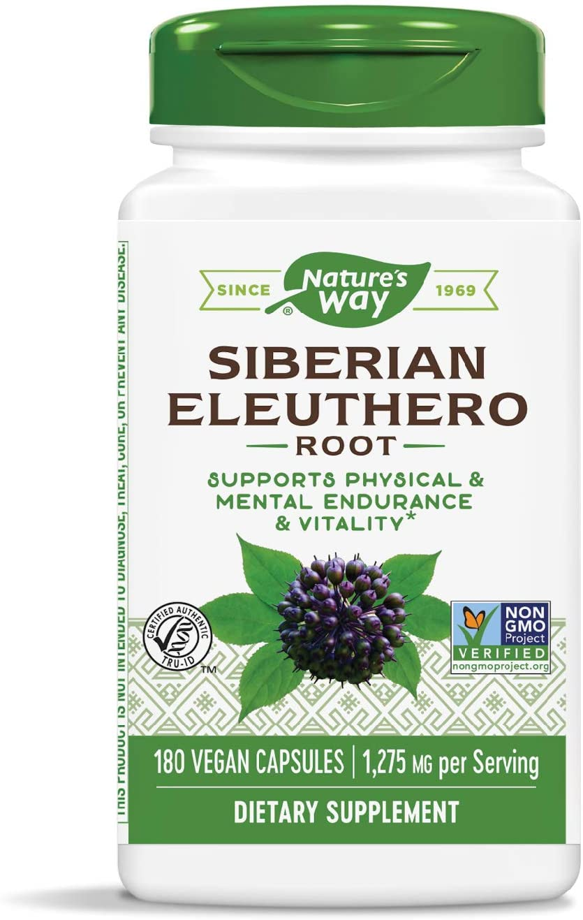 Nature's Way Premium Herbal Siberian Eleuthero, 1,275 mg per serving, 180 Capsules