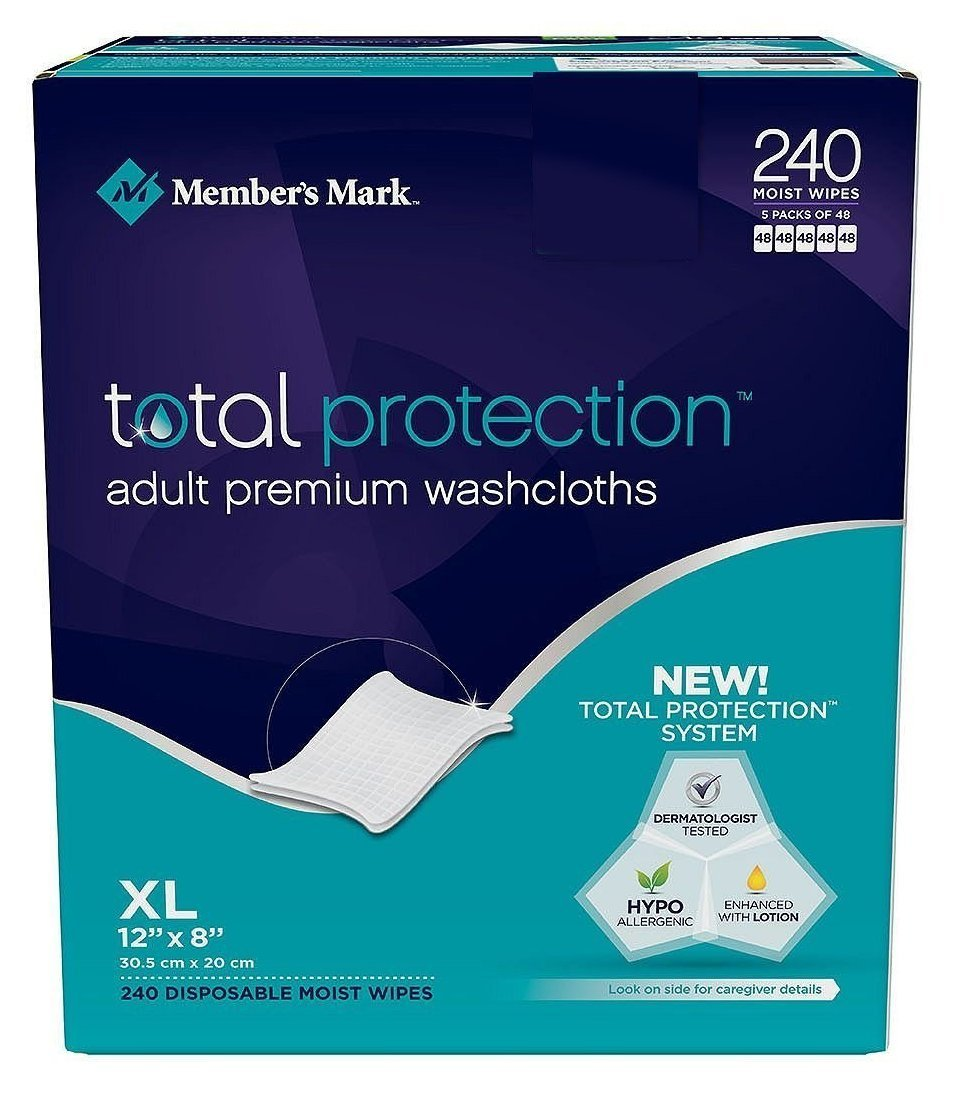 Member's Mark Adult Washcloth Disposable Moist Wipes - 12 X 8-240 Pk- 2 Pack (240-Wipes Each)