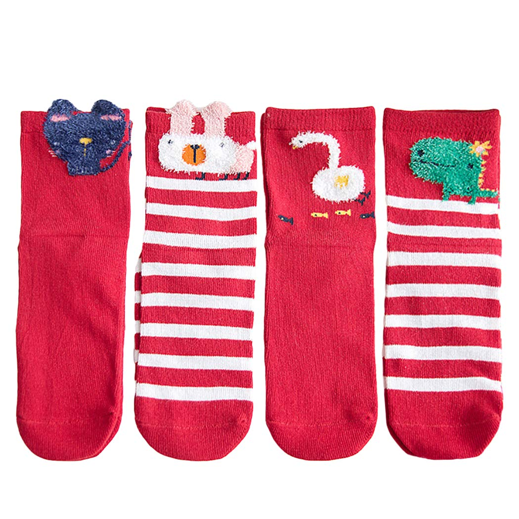 4 Pairs Christmas Socks Breathable Cartoon Crew Socks Cotton Socks for Baby Kids Red by Kapmore