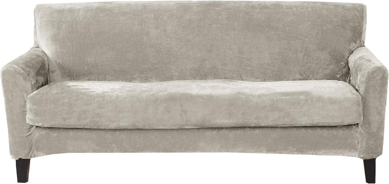 Great Bay Home 2 Piece Velvet Plush Sofa Slipcover. Form Fit, Stretch Slip Resistant, Strapless Slipcover. Soft Stretch Sofa Slipcover. Elliana Collection (Sofa, Silver Cloud)