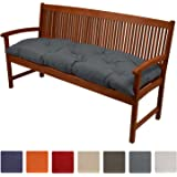 Beautissu Bench Pad Flair BK Comfortable Cushion 150 x 50 x 10 cm Swing or 3 Seater Garden Bench Cushion Graphite Grey