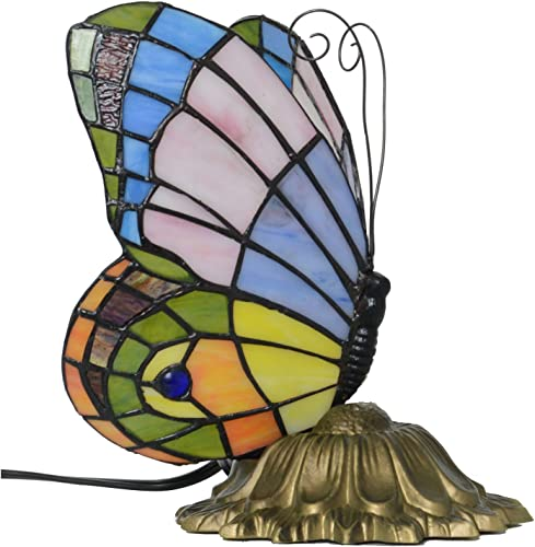 Tiffany Style Stained Glass Pastel Butterfly Accent Table Lamp 6-Inch Wide