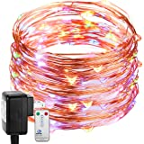 DecorNova Fairy Lights Plug In, Firefly Copper Wire String Lights with 3V Adapter & Remote Control for Christmas Tree Party Wedding Bedroom Decorations, 39.4 Feet 120 LED, Multi Color