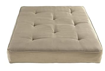 DHP 8 Inch Independently Encased Coil Premium Futon Mattress, Full Size, Tan
