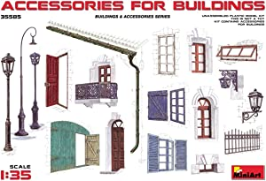 MINIART 35585 SCALE PLASTIC MODEL KIT ACCESSORIES FOR BUILDINGS : DOORS, LIGHTS, FENCE, WINDOWS, GATES, GUTTER 1/35 SCALE