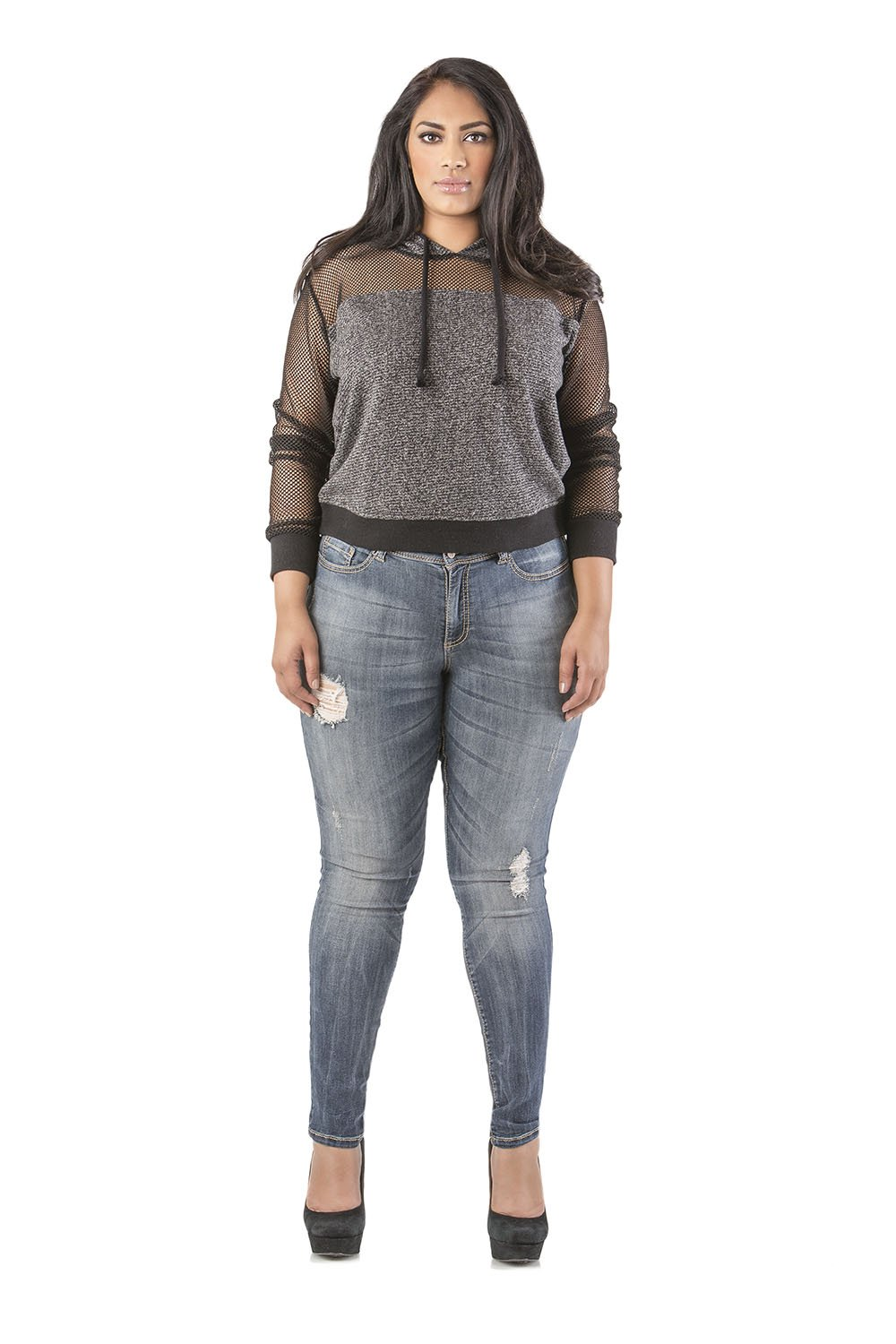 Poetic Justice Plus Size Women's Curvy Fit Blue Vintage Wash Destroyed Skinny Jeans Size 20 x 32Length by Poetic Justice (Image #3)